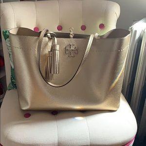 Tory Burch light gold McGraw tote bag